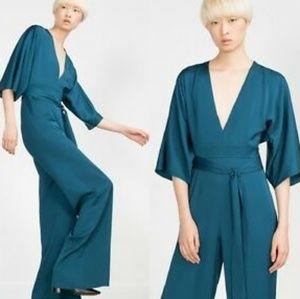 ZARA Woman Studio WideLeg Jumpsuit Dark Blue S NWT